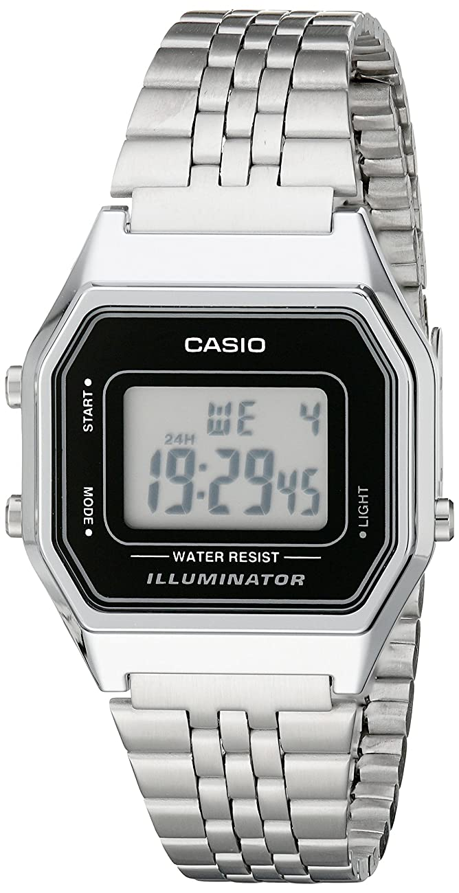 Casio Ladies Mid-Size Silver Tone Digital Retro Watch LA-680WA-1DF 0