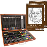 U.S. Art Supply 82 Piece Deluxe Art Creativity Set in Wooden Case with 9