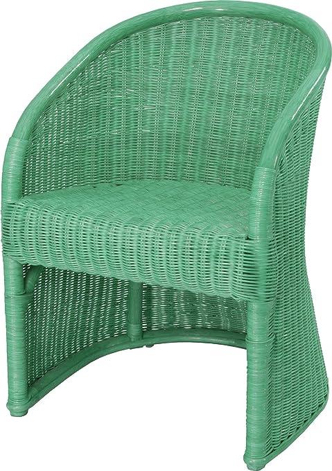 Club-Sessel aus Natur Rattan, Sessel in der Farbe Grun - Versandkostenfrei in DE