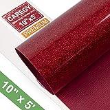 Glitter 10Inx5ft Red Heat Transfer Vinyl Roll(HTV) for T-Shirt Clothing Garment Bags (Color: Glitter Red)