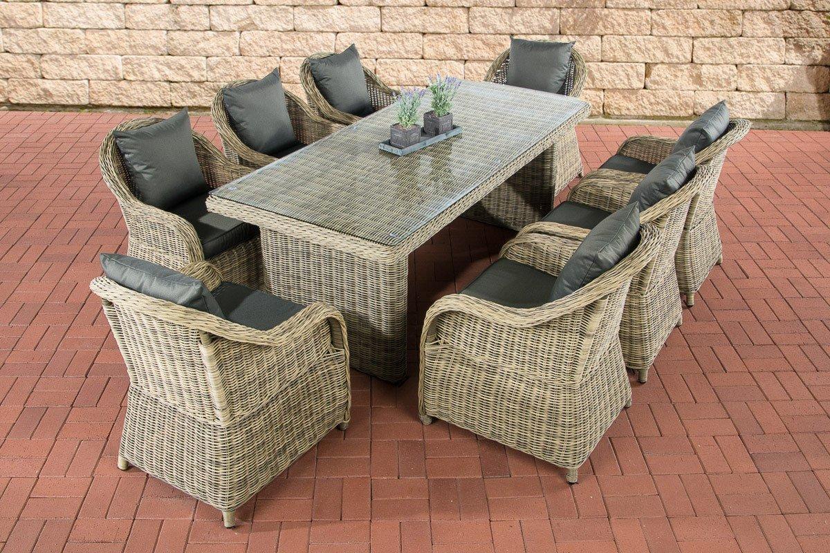 CLP Polyrattan Sitzgruppe LAVELLO XL natura, Tisch 200 x 90 cm + 8 Sessel inkl. Sitz- und Rückenkissen natura, Bezugfarbe anthrazit online bestellen