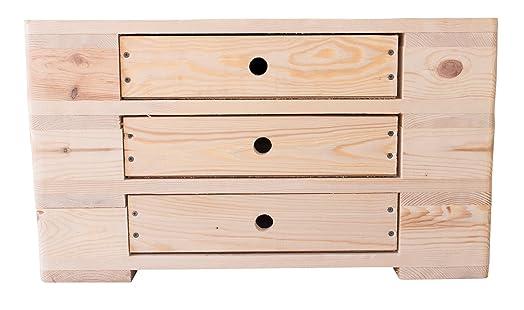 Comò in legno Palette in natura effetto 66x 48x 38cm