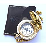 Handmade Brass Push Open Compass On Chain With Leather Case, Pocket Compass For Hiking And Camping By Neovivid