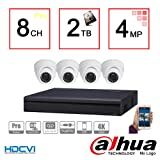 Dahua 4MP Tribrid Security Package: 8CH 4MP Tribrid (HCVR7108H-4M) (CVI/IP/Analog ) + (4) 4MP (HAC-HDW1400M) Outdoor HDCVI IR Eyeball Dome Camera w/2TB Security Hard Drive Installed