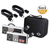 Classic NES Mini Controller-5-in-1 Necessary Combination,2 Classic NES Mini Controller and 2 10Ft Extension Cable and a Travel Handbag,Applicable NES Classic Edition and Nintendo Classic Mini (Color: Gray)