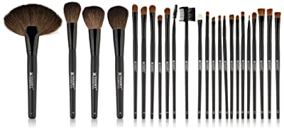 Studio Quality Natural Cosmetic Brush Set with Leather Pouch