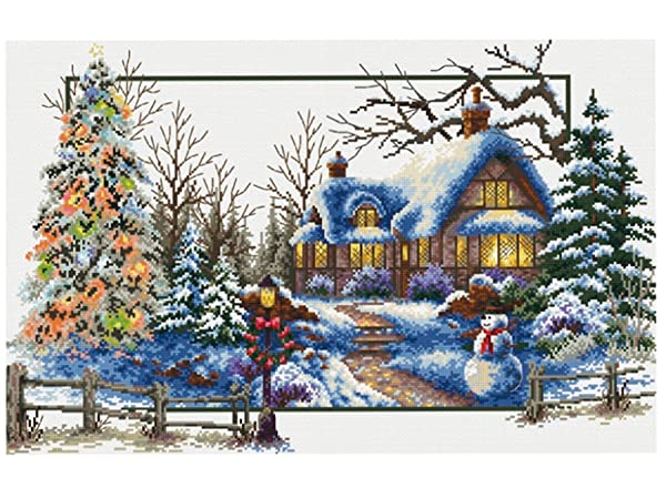 TINMI ATRS DIY Stamped Cross Stitch Landscape Kits Thread Needlework Embroidery Printed Pattern 11CT Home Decoration Four Seasons (Winter) (Color: winter)