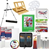 US Art Supply 72-Piece Deluxe Acrylic Painting Set with, Aluminum Floor Easel, Table Easel, 24 Acrylic Colors, Acrylic Painting Pad, Stretched & Canvas Panels, Brushes & Everything to Get You Started (Tamaño: 72-piece Acrylic Artist Set with 2-Easels #2)