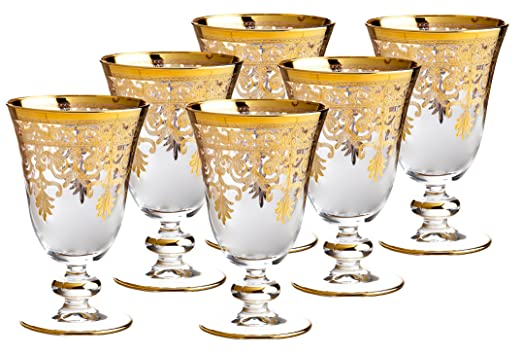 Fine Italian 14 Karat Gold Accented 8 Ounce Glasses by Rose's Glassware