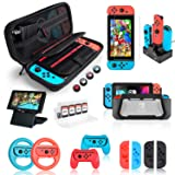 Nintendo Switch Accessories Bundle, Kit with Carrying Case, Screen Protector, Compact Playstand, Switch Game Case, Joystick Cap, Charging Dock, Grip and Steering Wheel for Nintendo Switch, (18 in 1) (Color: black, Tamaño: 1)