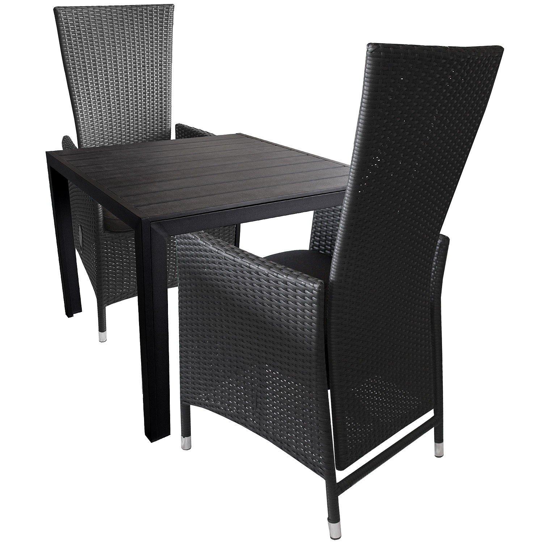 3tlg. Gartengarnitur Sitzgruppe Sitzgarnitur Terrassenmöbel Alu Polywood Gartentisch 90x90cm + Aluminium Poly-Rattan Sessel inkl. Sitzkissen Rückenlehne verstellbar jetzt kaufen