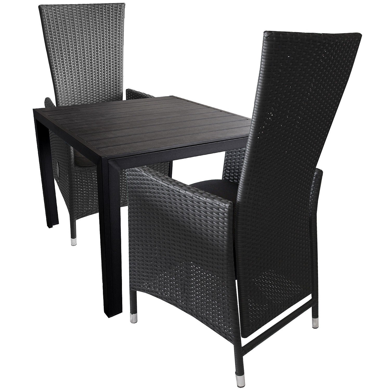 3tlg. Gartengarnitur Sitzgruppe Sitzgarnitur Terrassenmöbel Alu Polywood Gartentisch 90x90cm + Aluminium Poly-Rattan Sessel inkl. Sitzkissen Rückenlehne verstellbar
