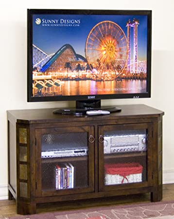 Sunny Designs Santa Fe TV Console with Adjustable Shelves in Dark Chocolate