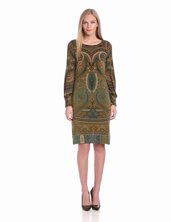 Jones New York Womens Long Sleeve Print Dress