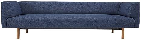Kragelund K21003202245 Canapé fixe 3 places Tissu Bleu 244 x 85 x 65 cm
