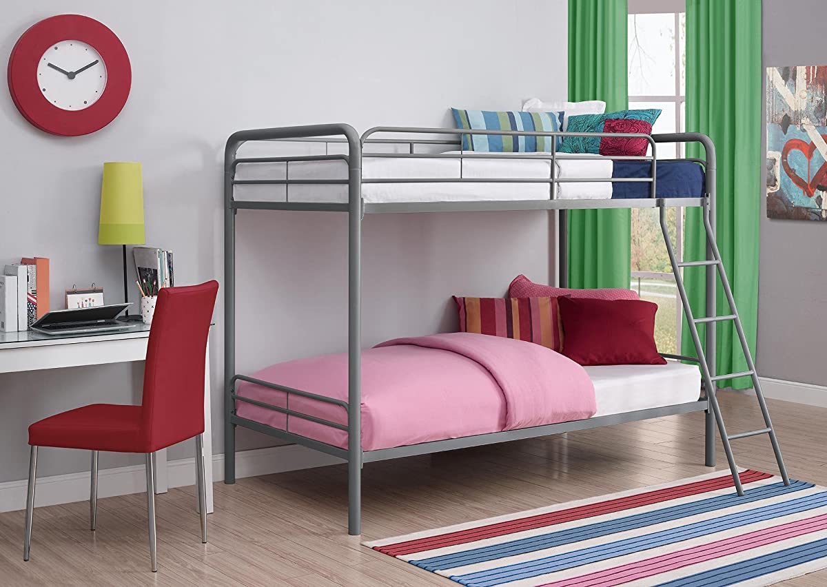 DHP Twin Over Twin, Metal Bunk Bed - Silver