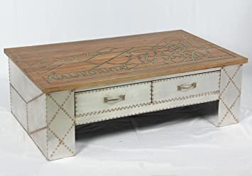 Mesita baja con diseño retro industrial, con cajón, mesa auxiliar retro, mueble para loft 505