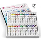 Ampela Acrylic Paint Set 24 Colors 12 Milliliters Tubes Non Toxic Paints Sets, Kits of Acrylic Art Craft Paint Palette for Painting (for Kids and Adults, Beginners and Artists) Set 3 Units
