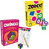 Set Of 2 New Games by Gamewright: Qwingo (The Rank And Roll Dice Game) And Zoinx (The All Or Nothing Game)