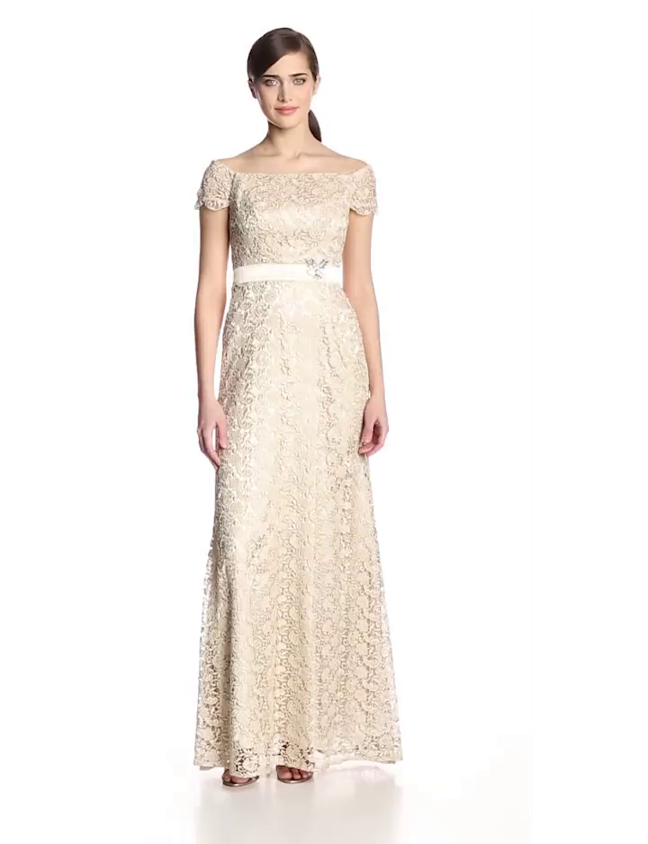 JS Collection Womens Off The Shoulder Lace Gown