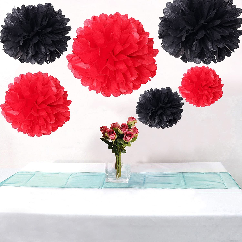 Фото 12PCS Mixed Sizes Black Red Party Tissue Pom Poms Paper Pompoms Wedding Anniversary Birthday Party Decoration