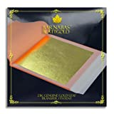 Genuine Gold Leaf Sheets 23k - by Barnabas Blattgold - 3.4 inches - 25 Sheets Booklet - Transfer Patent Leaf (Color: Transfer Patent, Tamaño: [3.4