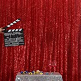 Dark Red PartyDelight Sequin Backdrop, Wedding Curtain Special Events, Party, 4FTx6FT (Color: Red, Tamaño: 4FTx6FT)