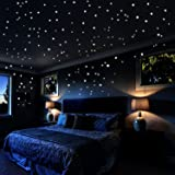Airbin Glow In The Dark Stars Wall Stickers, 730 pcs Dots and Moon for The Galaxy, Gifts For Kids Bedding Room or Birthday, Wall Decals by, Lighten The Love of Your Heart (Color: White)