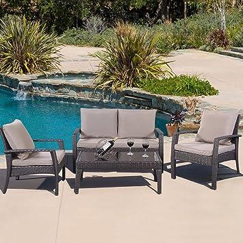 GHP 4-Pc Brown Rattan Outdoor Garden Cushioned Tea Table & Chairs Furniture Set