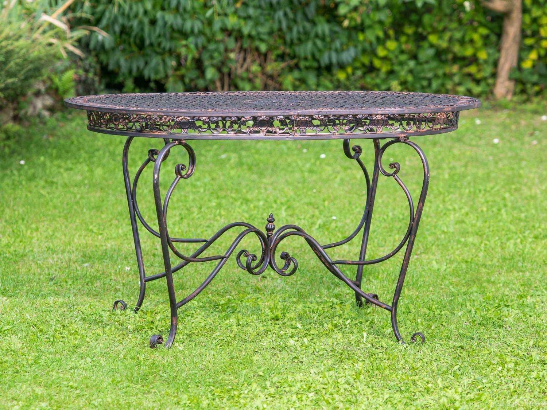 Gartentisch 135cm Eisen Tisch Schmiedeeisen Gartenmöbel braun antik Stil kaufen