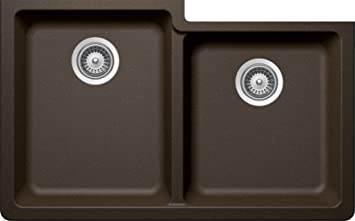 SCHOCK ALIN175YU087 ALIVE Series CRISTADUR 60/40 Undermount Double Bowl Kitchen Sink, Bronze