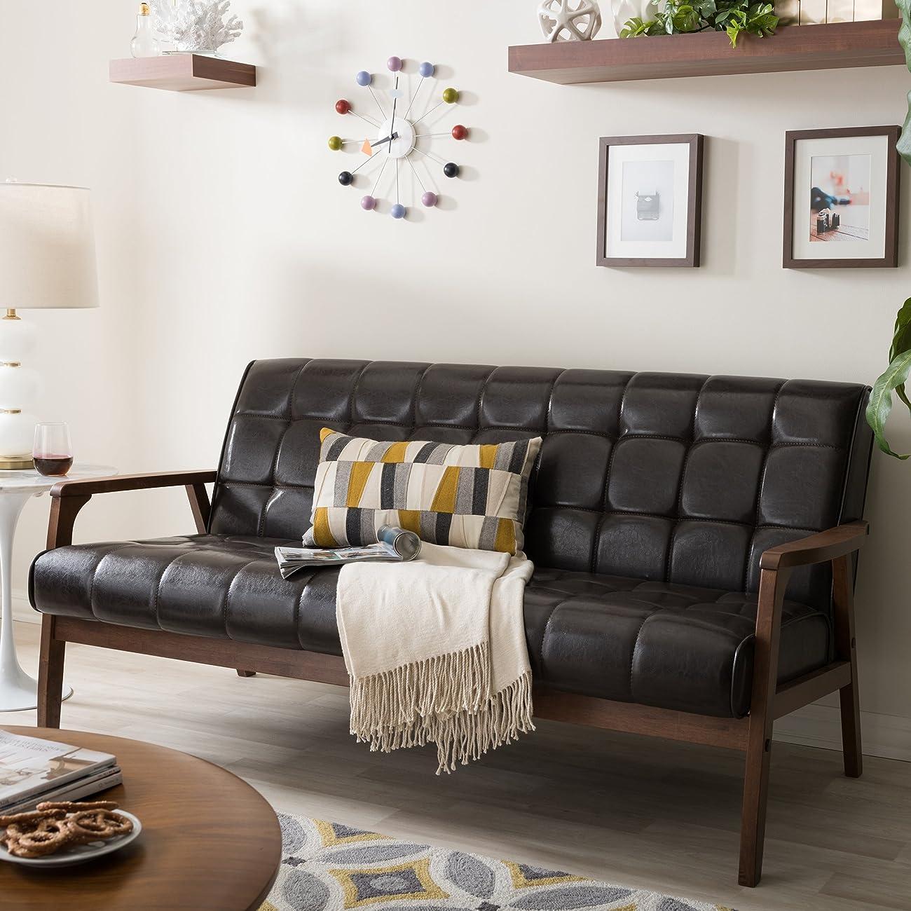 Baxton Studio Mid-Century Masterpieces Sofa, Brown 3