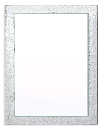 Innova 75 x 105 cm Deluxe Mosaic Crackled All Glass Mirror, Silver