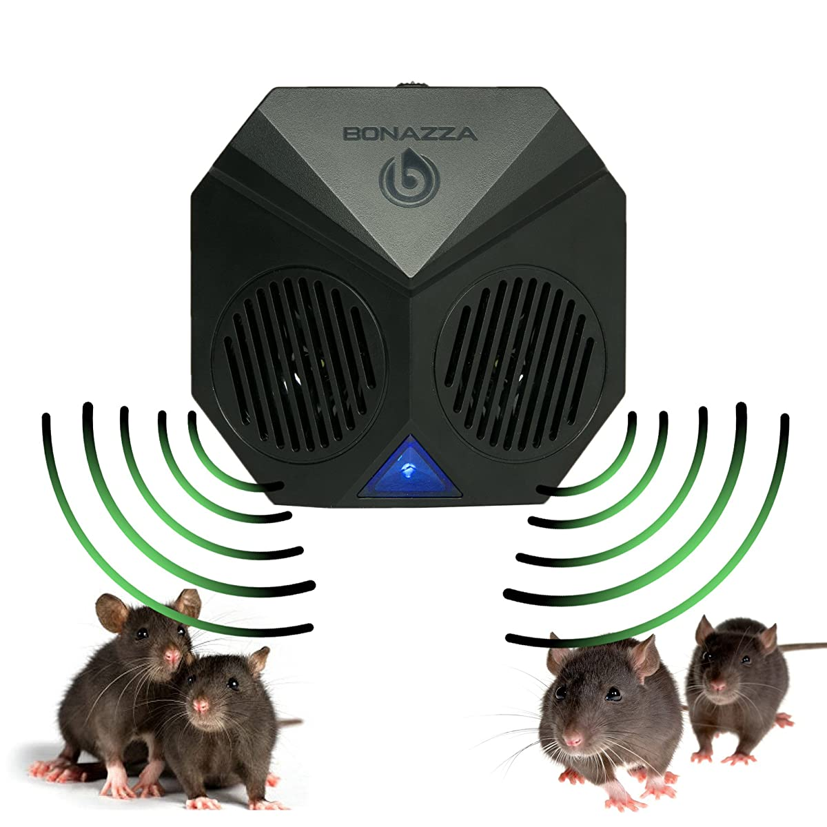 BONAZZA Rodent Repellent Ultrasonic for Garages, Warehouse, Attics, Basements - Best Electronic Mouse Repeller Get Rid Of Bugs Insects and Mice, Mouse and Rat 3 Modes of Pest Control - 2 Pack