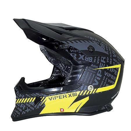 Casque de moto jaune Viper RSX99 stéréo MX Attitude