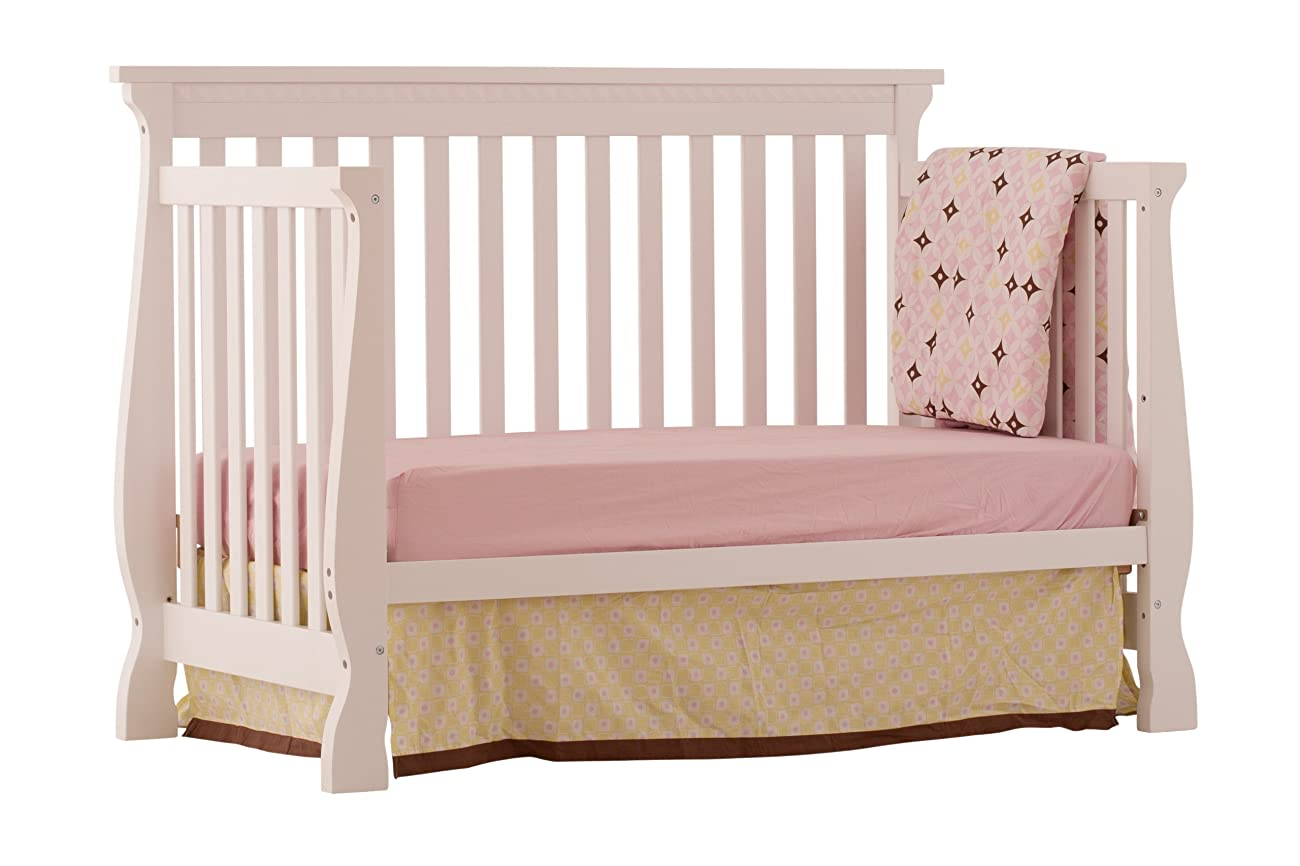 Stork Craft Venetian 4-in-1 Fixed Side Convertible Crib, White 3