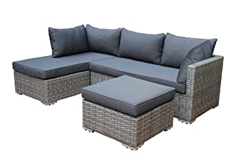 Loungeset VILETTA, Aluminium + Polyrattan hellgrau bicolor, mit regenfesten Polstern dunkelgrau