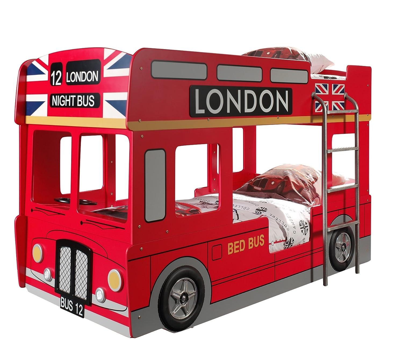VIPACK SCBBLB Autobett London Bus Etagenbett, circa 215 x 132 x 100 cm, 2 Liegeflächen 90 x 200 cm, lackiert aufgedruckte London-Bus Optik, rot günstig online kaufen