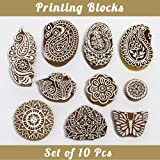 Asian Hobby Crafts Baren Handcarved Wooden Blocks for Stamping, Block Printing on Textiles, Pottery Crafts,Henna, Scrapbooking, Wall Painting: Set of 10pcs (Design C) (Color: Design C)