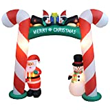 8 Foot Tall Lighted Christmas Inflatable Candy Cane Archway with Santa Claus Snowman Penguins LED Lights Outdoor Indoor Holiday Decorations Blow up Yard Lawn Inflatables Home Family Outside Decor (Color: Multi-Color)