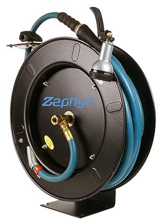Zephyr Auto Retractable Garden Hose Reel with Rubber Water Hose
