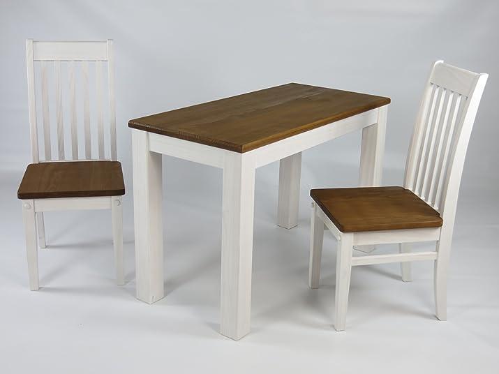 Sedie da giardino, Set con tavolo da pranzo in legno di pino massiccio tavolo 115x 56cm e 2Sedie Klassik in Bianco/Noce