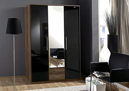 Dresden 3 Door 2 Drawer Wardrobe Black Gloss and Walnut - furniturefactor