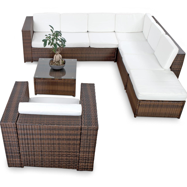 XINRO XXL 22tlg. Gartenmöbel Lounge Set günstig + 1x (1er) Lounge Sessel – Lounge Möbel Polyrattan Sitzgruppe Garnitur – In/Outdoor – mit Kissen – handgeflochten – braun jetzt bestellen