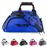 Elite Sports Warrior Boxing MMA BJJ Gear Gym Duffel Backpack Bag with Shoe Compartment (Color: Blue, Tamaño: Large)