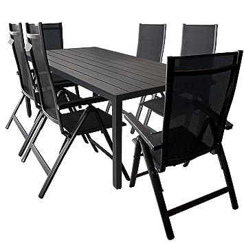 Wohaga® Elegante 7-teilige Sitzgarnitur, Alu / Polywood Gartentisch 205x90cm + 6x Positionsstuhl mit 4x4 Textilenbespannung und Polywood Armlehnen - Schwarz / Gartengarnitur Terrassenmöbel Gartenmöbel Sitzgruppe