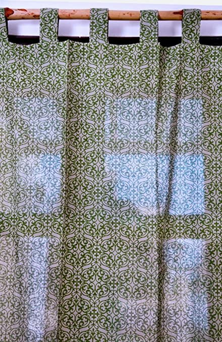 Buy Green Mughal Frame Curtains 2 pc set Length-90 Inch. Width-42 ...