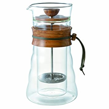 Hario Coffee Press Double Wall Glass Olive Wood French DGC-40-OV | Amazon