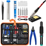 Soldering Iron Kit Electronics [Upgraded], Yome 15-in-1 60w Adjustable Temperature Soldering Iron with ON/OFF Switch, 5pcs Soldering Iron Tips, DE-soldering Pump, Wire cutters, screwdriver, Stand (Tamaño: 15-in-1)