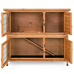 Best Choice Products 2-Story Outdoor Wooden Pet Rabbit Hutch Animal Cage for Backyard, Garden, 48x41in, Brown, w/Ladder